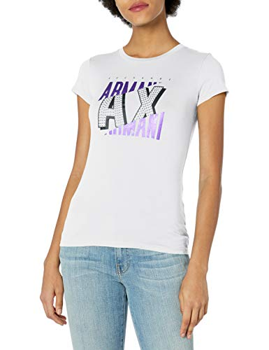 Armani Exchange Damen Cartoon Logo T-Shirt, Weiß (Optic White 1000), Small (Herstellergröße:S)