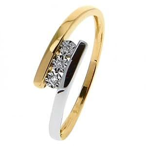 OR 9 CARATS bague trio or 375 Femme Bague Or jaune et blanc 375 Diamant 09ZL53BB5