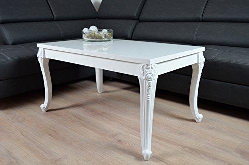 Barock Couchtisch Holz Hochglanz weiß Wohnzimmer Lack Tisch Beistelltisch 60x100cm