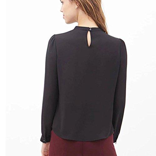 Sunnywill Falten Sie locker lässig Chiffon Langarm Shirt Tops Bluse für Mädchen Damen Schwarz