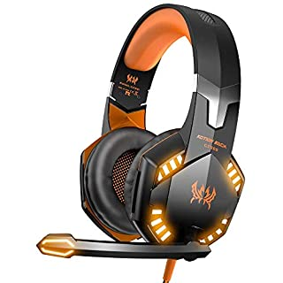 VersionTECH. Gaming headset for PS4 Xbox One PC Headphones with Microphone LED Light Noise Cancellation Over Ear Compatible with Nintendo Switch Turtle Beach Games Laptop Mac Orange