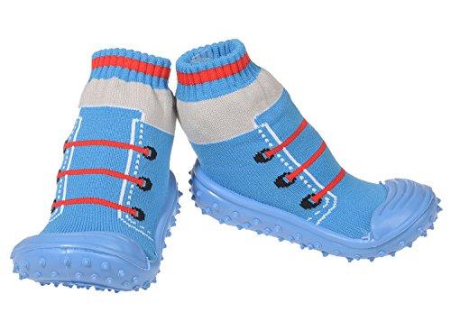 Baby Hausschuhe Babysocken ABS Gummisohle Babyschuhe Antirutsch Gr.19-23(9-24Monate) Badeschuhe versch.Farbe Schuhe Blau