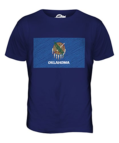 CandyMix Bundesstaat Oklahoma Kritzelte Flagge Herren T Shirt Navy Blau