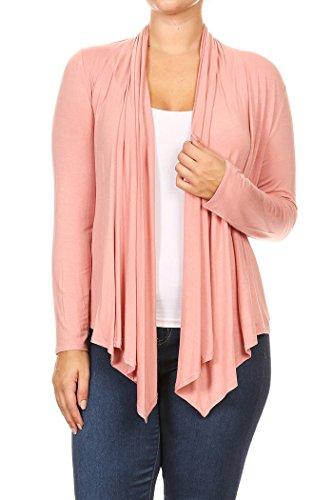 Frauen Plus Solid Langarm Drapierte Hals Open Front Cardigan.Made In US (2X, LightPink) (Hals Drapierte)