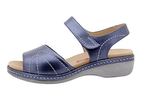 PieSanto Chaussure Femme Confort en Cuir 1801 Sandales à Semelle Amovible Confortables Amples Marino