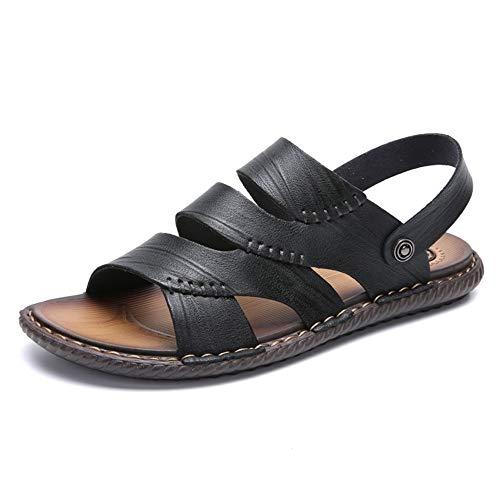 HILOTU-Sandali uomo Open Toes Pantofole Summer Outdoor Traspirante Sport Beach Sandals (Color : Nero, Dimensione : 39 EU)