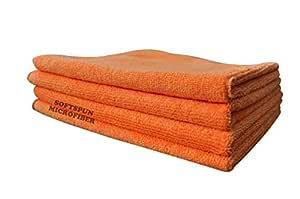 SOFTSPUN Microfiber Cloth - 4 pcs - 40x40 cms - 340 GSM Orange - Thick Lint & Streak-Free Multipurpose Cloths - Automotive Microfibre Towels for Car Bike Cleaning Polishing Washing & Detailing