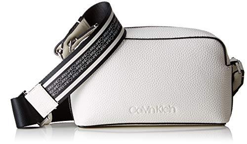 Calvin Klein Damen Race Crossbody Umhängetasche, Weiß (Bright White), 8x20x13 cm