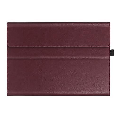 Fintie Hülle für Microsoft Surface Pro 6 (2018) / Pro 5 (2017) / Pro 4 / Pro 3 - Multi-Sichtwinkel Hochwertige Tasche Schutzhülle aus Kunstleder, Type Cover kompatibel, Bordeaux