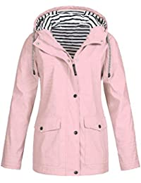 Hotsellhome New Fashion Womens Tops Clothes Solid Rain Jacket Coat Outdoor Plus Waterproof Hooded Raincoat Windproof for Ladies