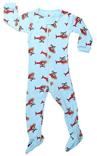 Elowel Baby Jungen Grobe 68 - 110 Einteiler Strampler Schlafanzug Schlafoverall Hubschrauber 100% Baumwolle 18-24 Monate (Footed Pjs Pyjamas)