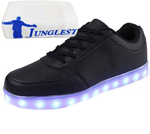 [Présents:petite serviette]JUNGLEST Chaussure LED Lumineux 7 Changements de Couleur Réglable Rechargeable avec USB Prise Unisexe Décoration pour Soirée,Basket,Fille,Garçon,Femme,Homme,C Noir