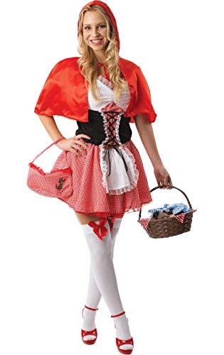 Ladies Sexy Little Red Riding Hood Fairytale Fancy Dress Costume Medium