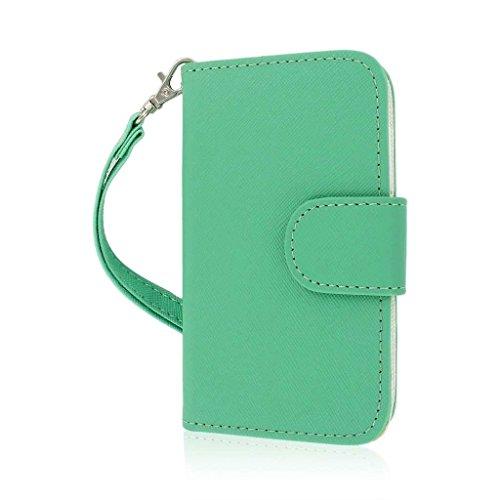MPERO Flex FLIP Wallet Case Tasche Hülle for Alcatel ONETOUCH Evolve 5020T- Mint/Weiß