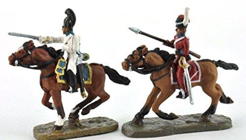 Del Prado Vollplastische Zinnfigur Metall Soldat Napoleonische Kriege Austerlitz zwei Reiter Kavallerie ca. 4,5 cm DAU016