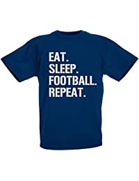 loltops Eat Sleep Football repeat Gift T-Shirt For Boys, Kids by