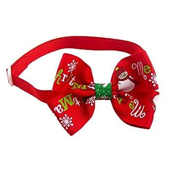 Outflower N½ud papillon pour animal domestique, Accessoire décoratif de Noël, manteau d'hiver, chat, chien, collier pour animal de compagnie, ruban