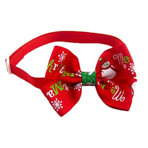 Weihnachten Kragen Hund (Scrox 1X Schöne Haustier Kragen Haustier Fliege Bunte Weihnachten Design Einstellbare Länge Weihnachten Pet Fliege für Hund Katze Kätzchen Pet Kleidung Heimtierbedarf (Rot))