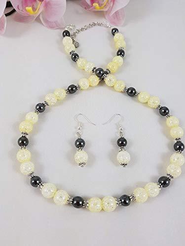 Elegantes Schmuckset Kette/Collier und Ohrhänger aus gelben Crackkristall und glänzend schwarzem Magnetit; Edelsteine/Heilsteine