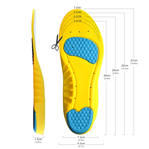 Magichome Einlegesohlen Arbeitsschuhe Schneidbare Sportschuhe für Stoßdämpfung, Fersenschutz und Fußbogenstütze, entlasten Fußschmerzen und Fasciitis - 6