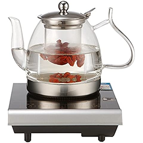 Nueva llegada de café de cristal de la tetera china Blooming teteras de vidrio a prueba de calor vaso de té con filtro de cristal Ollas