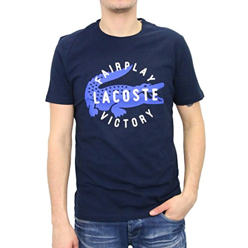 Lacoste Herren T-Shirt mit Druck, Gr. Large (Herstellergröße: 5), Marine