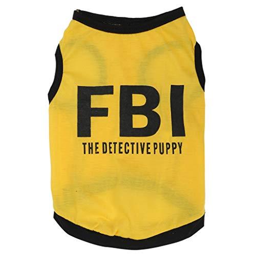 T.boys Hundeshirt, Sommershirt für Hunde mit gelben FBI Aufdruck Ärmellos Tank Top Hundebekleidung Weste für Kleine Medium Puppy Dogs Katzen