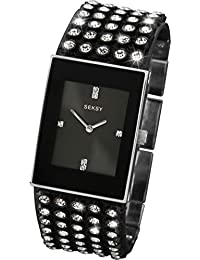 SEKSY Ladies 4854 Quartz Analogue Black Leather Strap Watch
