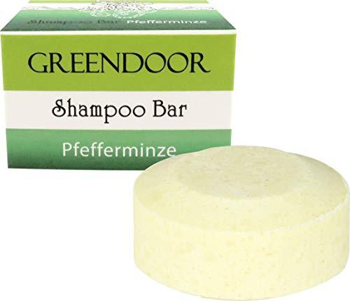 Greendoor Shampoo-Bar Pfefferminz 75g, festes Haarshampoo ohne Sulfate, Naturkosmetik, Bio Brokkolisamenöl, Aloe Vera, mit reinem ätherischen Öl, natürliche Haarpflege, normales und fettiges Haar -