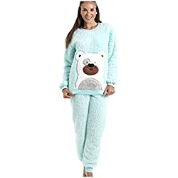 Camille - Pijama de peluche supersuave - Diseño con oso - Verde menta 42/44