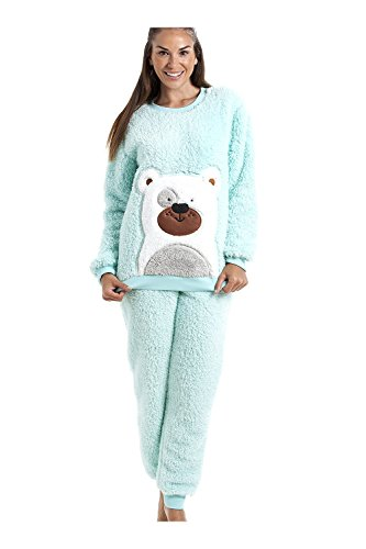 fd7640d5d2f931 Camille - Pyjama-Set mit Teddybär-Motiv - weich & kuschelig - Mintgrün
