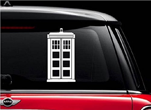 Doctor Who Tardis (White 5) Vinyl Decal Sticker for Car Automobile Window Wall Laptop Notebook Etc.... Any Smooth Surface Such As Windows Bumpers by H.J Design - White-vinyl Decal Sticker