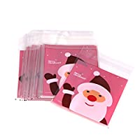 beiguoxia 50Pcs Self Adhesive Christmas Santa Cookie Candy Package Cellophane Gift Bags