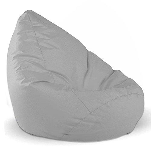Sitzsack Sitzbag Größe S-M-L-XL-XXL-XXXL mit Styropor Füllung - In & Outdoor - verschiedene Farben & Größen - Bean Bag Sitzkissen Bodenkissen Hocker Kinder Sitzsäcke Möbel Kissen Sessel Sofa (XL - ca.68cm, Grau/Hellgrau)