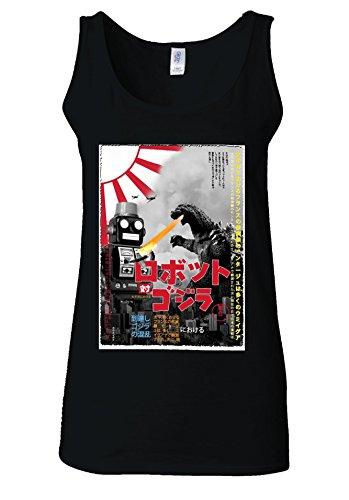 Tokyo Tin Robot Godzilla Top Fashion Novelty White Women Vest Tank Top *Noir