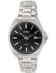 Seiko–sur061p1–Armbanduhr–Quarz Analog–Zifferblatt schwarz Armband Stahl Grau