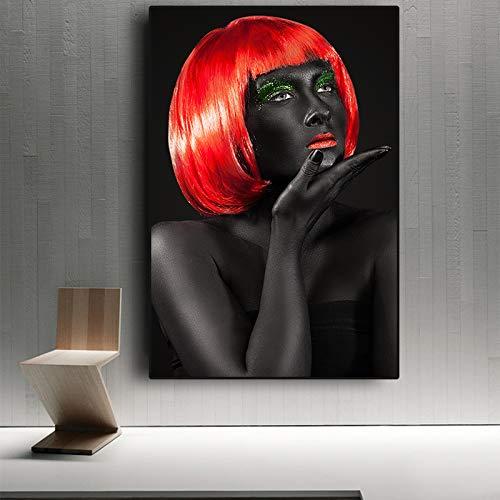 sanzangtang Schwarz rot nackte afrikanische Frau Poster und drucke nordische leinwand malerei nordischen Stil nordische Wand Wohnzimmer Bild rahmenlose 30x45 cm
