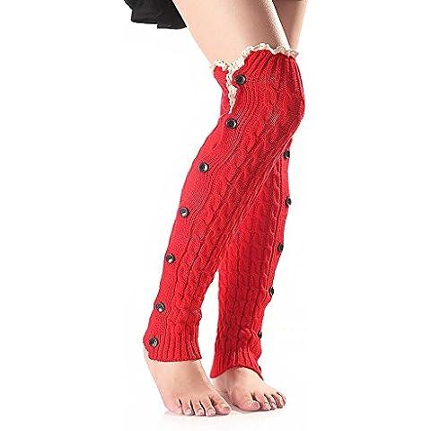 TININNA Moda Natale caldo Calzino pizzo Lana a maglia Calze al ginocchio con pulsante Scaldamuscoli per le donne ragazze Rosso