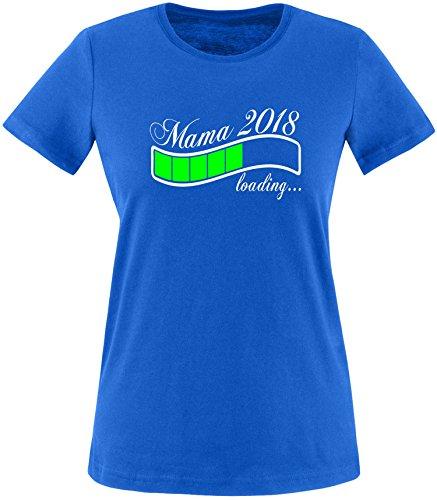 EZYshirt® Mama 2018 Damen Rundhals T-Shirt Royal/Weiss/Neongr