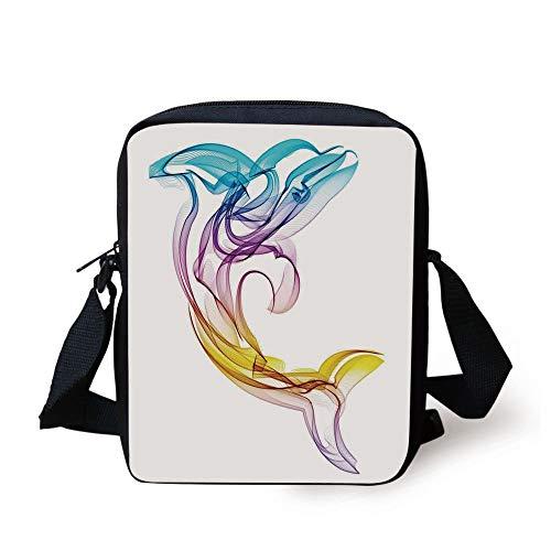 Sea Animals Decor,Dolphin Figure with Ornamentals Abstract Art Aquatic Animal Illustration Image,Multi Print Kids Crossbody Messenger Bag Purse