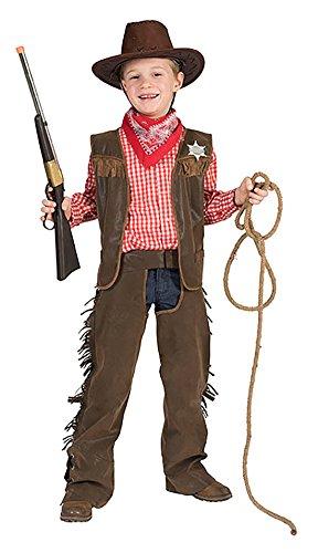 erdbeerclown - Cowboy Kostüm mit Sheriffstern für Jungen, 128-134, 8-9 Jahre, Braun