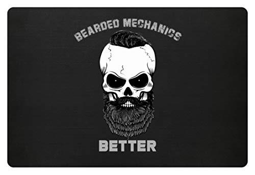 generisch Bearded Mechanics Better - Totenkopf mit Bart, Schnäuzer und Haaren - Fußmatte -60x40cm-Schwarz