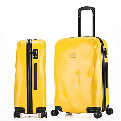 Koffer Trolley Rollgepäck Handgepäck Sipnner Räder ABS + PC Frauen Reisekoffer Männer Mode Cabin Trolley Box Gepäck Yellow-24 inches