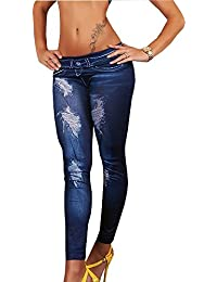 Destressed Jeans Leggings in Röhr Hose Jeans destroy Tattoo Look Wasch Effekt LG2014