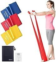 OMERIL Bande Elastiche Fitness (3 Pezzi), 1,5 m/ 2 m Fasce Elastiche con 3 Livelli di Resistenza, Fascia Elastica...