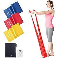 OMERIL Bande Elastiche Fitness (3 Pezzi), 1,5 m/ 2 m Fasce Elastiche con 3 Livelli di Resistenza, Fascia Elastica Esercizi Ideale per Yoga, Pilates, Allenamento di Forza e Flessibilità, Stretching