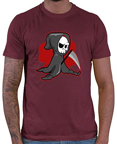 HARIZ  Herren T-Shirt Sensenmann Halloween Kostüm Horror Kürbis Inkl. Geschenk Karte Wein Rot M