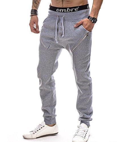 Betterstylz MilfordBZ Jogginghose Harem Zip Sweatpants Slim Fit Jogger Fitness Crotch Trainingshose 3 Farben (M-XXL) (S, Grau Melange) (Zip-sneaker-männer)