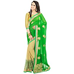 Janasya women's Green Colour Chiffon saree (JNE0256)