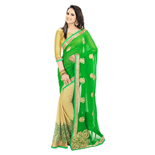Janasya women's Green Colour Chiffon saree (JNE0256)